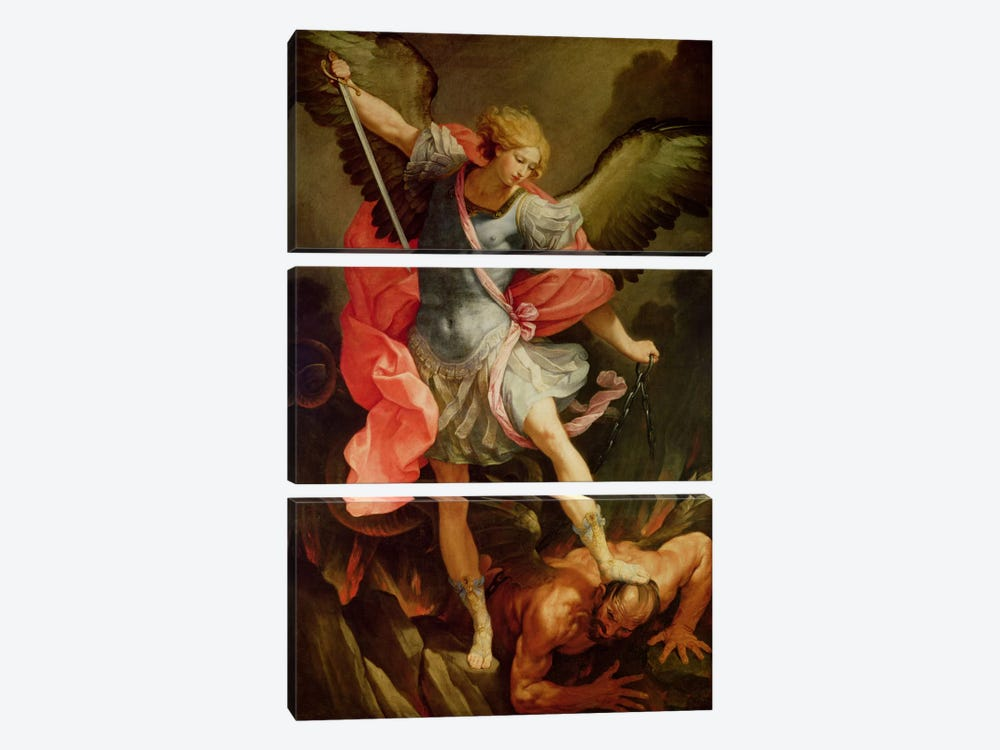 The Archangel Michael defeating Satan  by Guido Reni 3-piece Canvas Print