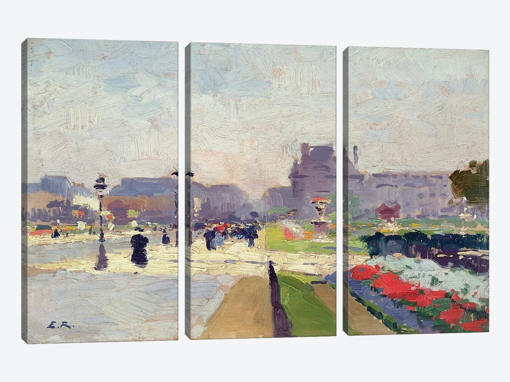 Avenue Paul Deroulede, Tuileries, Paris  by Jules Ernest Renoux 3-piece Art Print