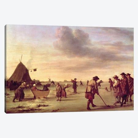 Golfers on the Ice near Haarlem, 1668  Canvas Print #BMN233} by Adriaen van de Velde Art Print