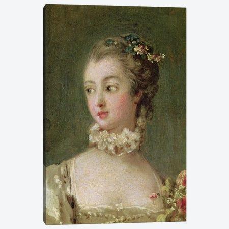 Detail Of Head & Shoulders, Madame de Pompadour  Canvas Print #BMN2345} by Francois Boucher Canvas Art