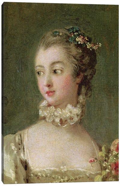 Detail Of Head & Shoulders, Madame de Pompadour  Canvas Art Print
