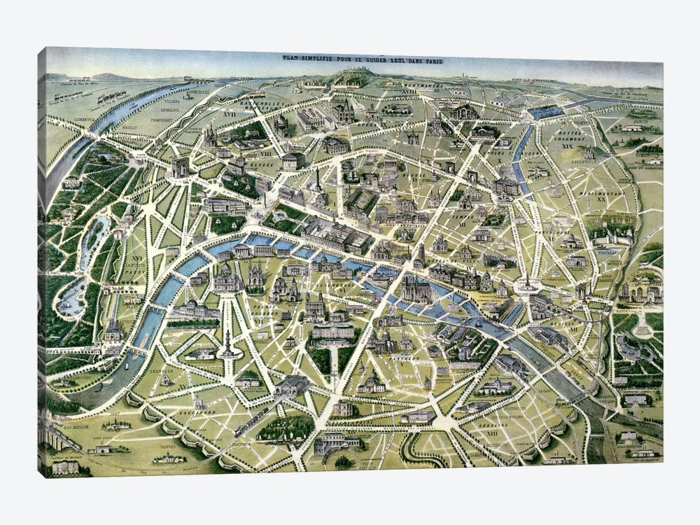 Map of Paris during the period of the 'Grands Travaux' by Baron Georges Haussmann by Hilaire Guesnu 1-piece Art Print