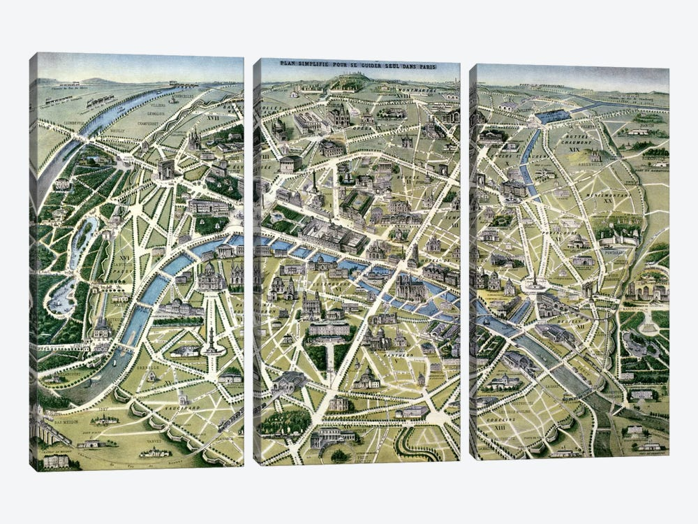 Map of Paris during the period of the 'Grands Travaux' by Baron Georges Haussmann by Hilaire Guesnu 3-piece Canvas Print