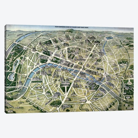 Map of Paris during the period of the 'Grands Travaux' by Baron Georges Haussmann  Canvas Print #BMN2348} by Hilaire Guesnu Art Print