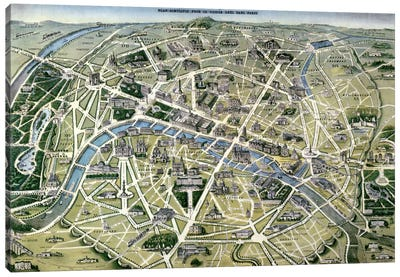 Map of Paris during the period of the 'Grands Travaux' by Baron Georges Haussmann  Canvas Art Print