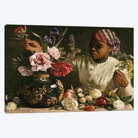 Negress with Peonies, 1870  Canvas Print #BMN2349} by Jean Frederic Bazille Canvas Print