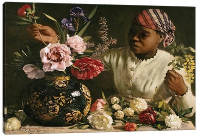 Negress with Peonies, 1870  Canvas Art Print