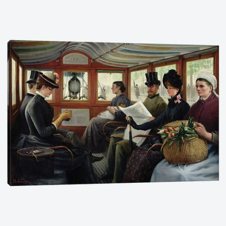 On the Omnibus, 1880  Canvas Print #BMN2353} by Maurice Delondre Canvas Artwork