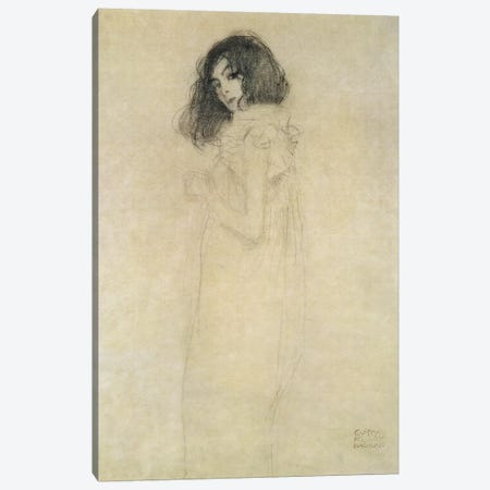 Portrait of a young woman, 1896-97 Canvas Print #BMN235} by Gustav Klimt Canvas Wall Art