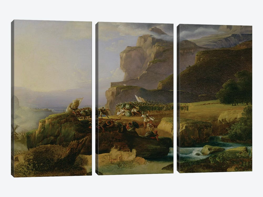 Battle of Thermopylae in 480 BC, 1823  by Massimo Taparelli d' Azeglio 3-piece Canvas Wall Art