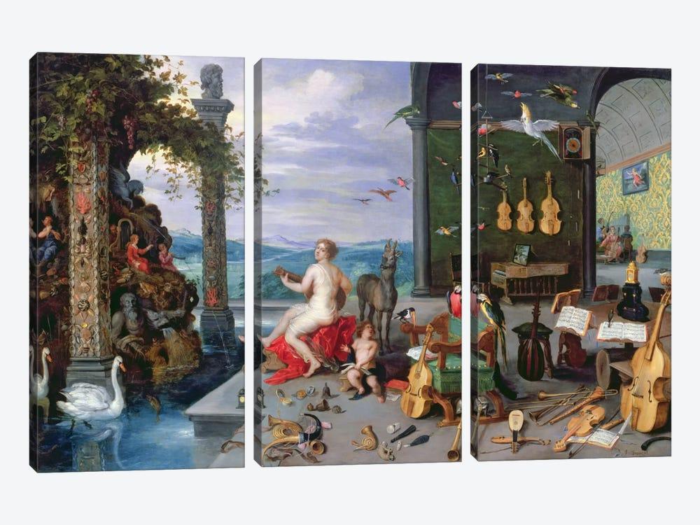 Allegory of Music  by Jan Brueghel the Elder 3-piece Canvas Artwork