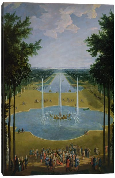 View of the Bassin d'Apollon in the gardens of Versailles, 1713  Canvas Art Print