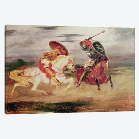 Two Knights Fighting in a Landscape, c.1824  Canvas Print #BMN2371} by Ferdinand Victor Eugene Delacroix Canvas Artwork