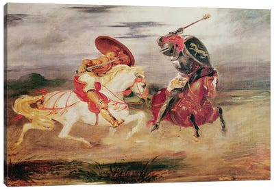 Two Knights Fighting in a Landscape, c.1824  Canvas Art Print