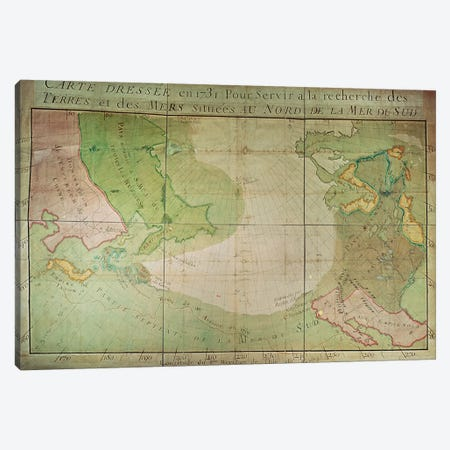 Map of New Discoveries in the North of the South Sea, East of Siberia and West of New France, 1731  Canvas Print #BMN2373} by Guillaume Delisle Canvas Wall Art