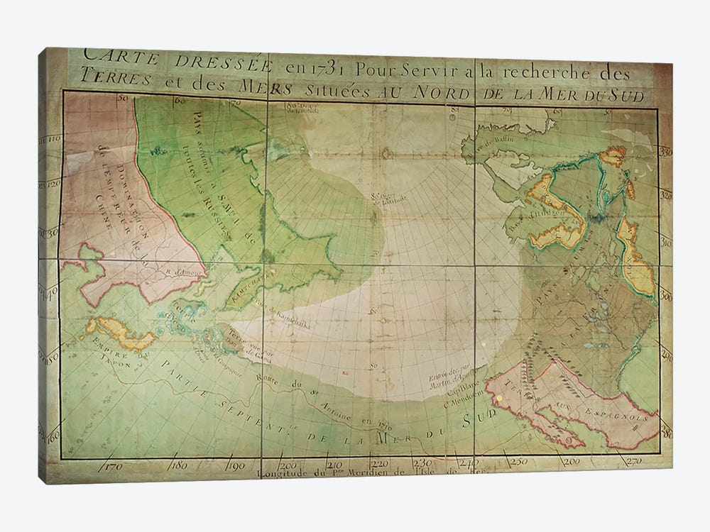 Map of New Discoveries in the North of the South Sea, East of Siberia and West of New France, 1731 by Guillaume Delisle 1-piece Canvas Print