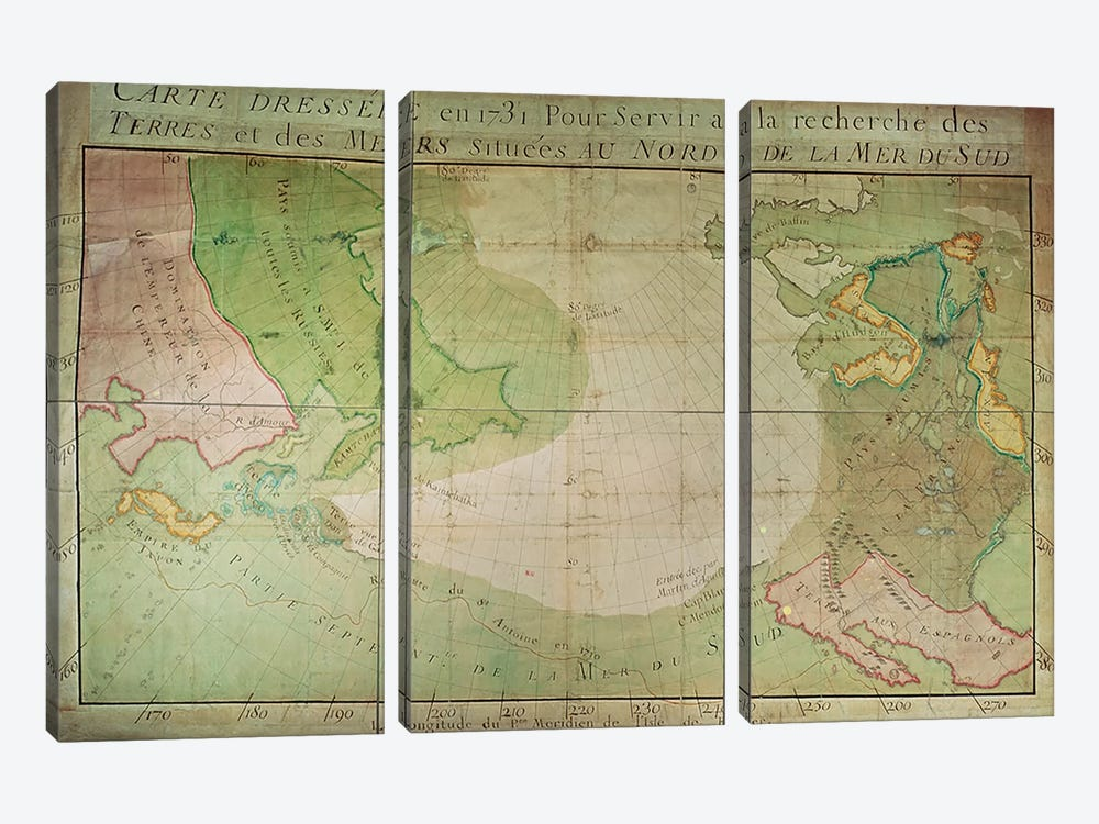 Map of New Discoveries in the North of the South Sea, East of Siberia and West of New France, 1731 by Guillaume Delisle 3-piece Art Print