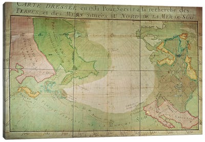 Map of New Discoveries in the North of the South Sea, East of Siberia and West of New France, 1731  Canvas Art Print