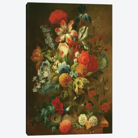Flower Still Life with Bird Nest  Canvas Print #BMN2376} by Ottmar the Elder Elliger Art Print