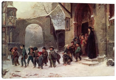 Snow Scene: Children Leaving School, c.1853 Canvas Art Print