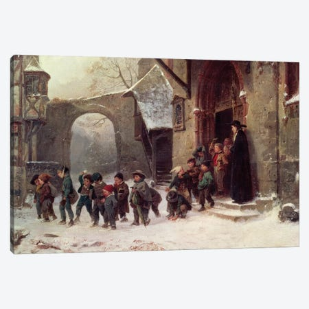 Snow Scene: Children Leaving School, c.1853 Canvas Print #BMN237} by Marc Louis Benjamin Vautier Canvas Artwork