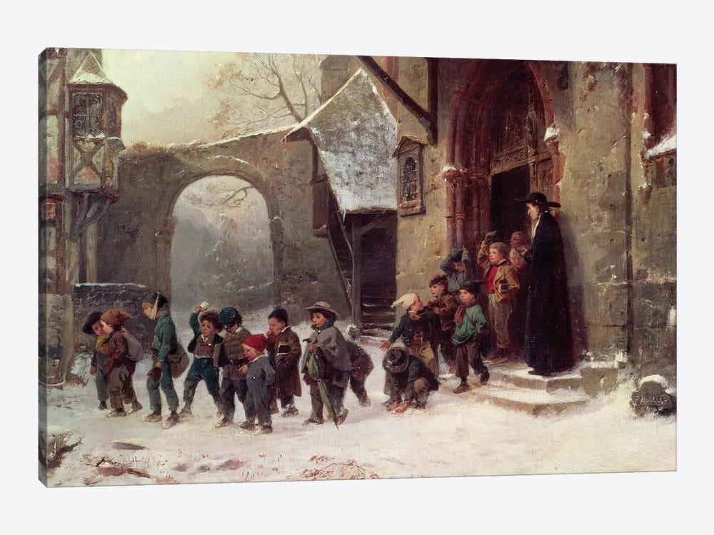 Snow Scene: Children Leaving School, c.1853 by Marc Louis Benjamin Vautier 1-piece Canvas Artwork