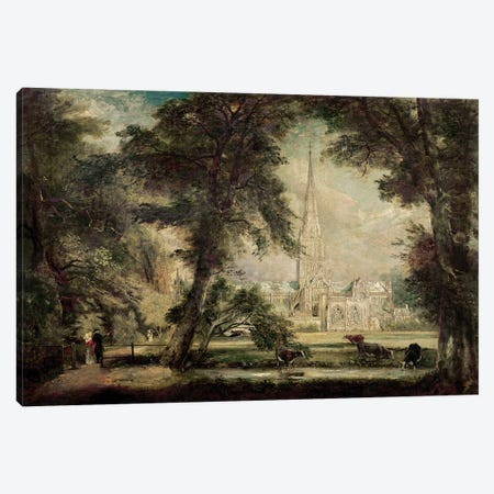 Salisbury Cathedral from the Bishop's Grounds, c.1822-23  Canvas Print #BMN2383} by John Constable Art Print