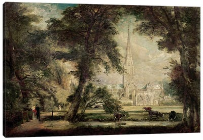Salisbury Cathedral from the Bishop's Grounds, c.1822-23  Canvas Art Print