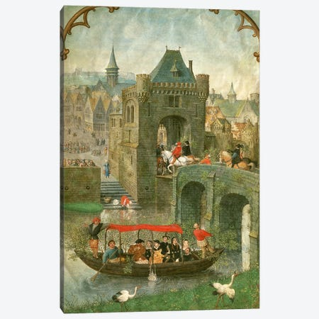 Additional 18855: Boating in the month of May, from a Book of Hours, c.1540  Canvas Print #BMN238} by Simon Bening Canvas Art Print