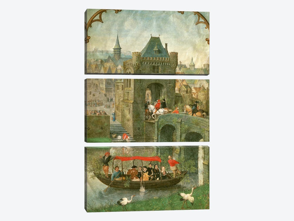 Additional 18855: Boating in the month of May, from a Book of Hours, c.1540 by Simon Bening 3-piece Art Print