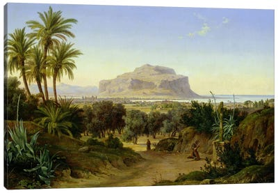 View of Palermo with Mount Pellegrino Canvas Art Print
