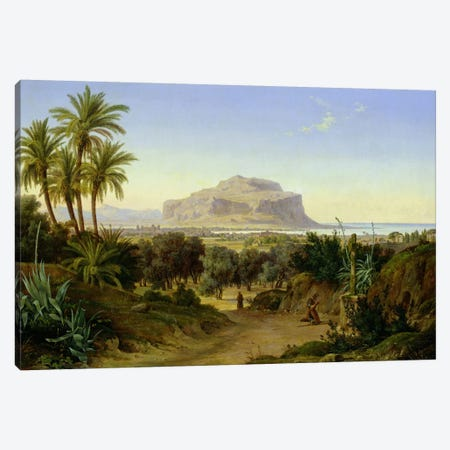 View of Palermo with Mount Pellegrino  Canvas Print #BMN2391} by August Wilhelm Julius Ahlborn Canvas Art