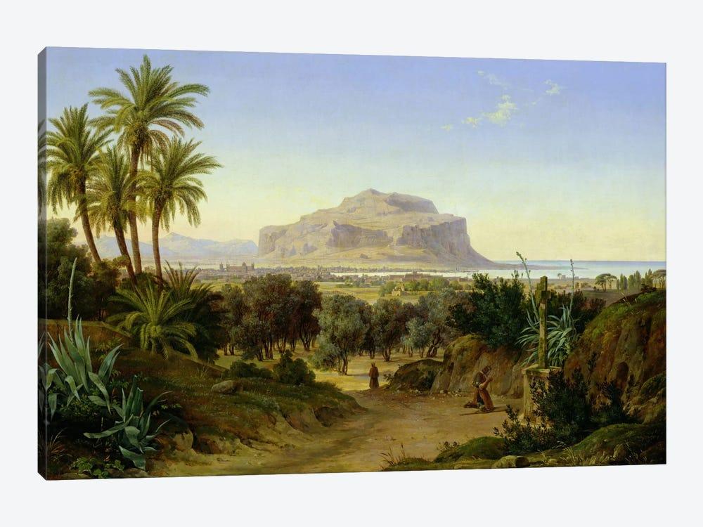 View of Palermo with Mount Pellegrino  by August Wilhelm Julius Ahlborn 1-piece Canvas Art Print