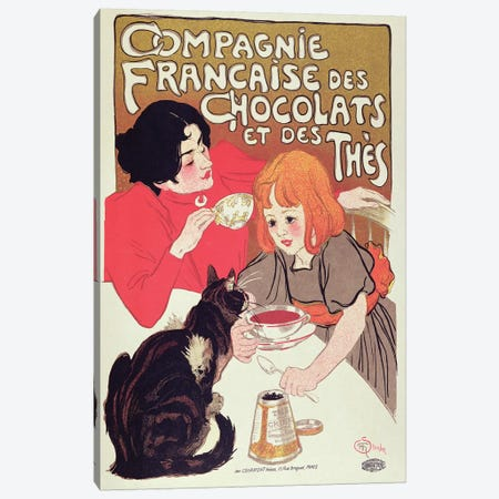 Poster advertising the Compagnie Francaise des Chocolats et des Thes, c.1898  Canvas Print #BMN2392} by Theophile Alexandre Steinlen Canvas Artwork
