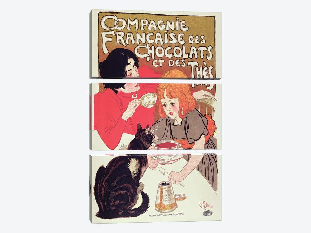 Poster advertising the Compagnie Francaise des Chocolats et des Thes, c.1898  by Theophile Alexandre Steinlen 3-piece Canvas Art