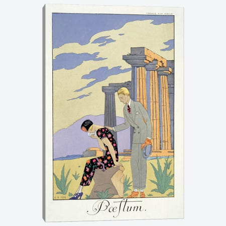 Paestum, 1924 (pochoir print) Canvas Print #BMN23} by George Barbier Canvas Art