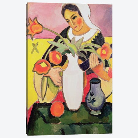 The Lute Player, 1910  Canvas Print #BMN2411} by August Macke Canvas Art Print