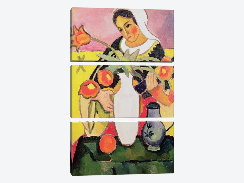 The Lute Player, 1910  by August Macke 3-piece Canvas Artwork