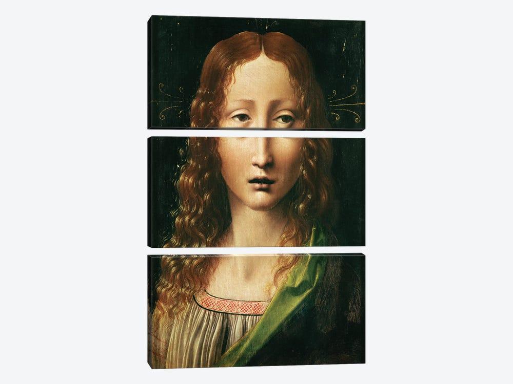 Head of the Saviour  by Leonardo da Vinci 3-piece Canvas Art Print