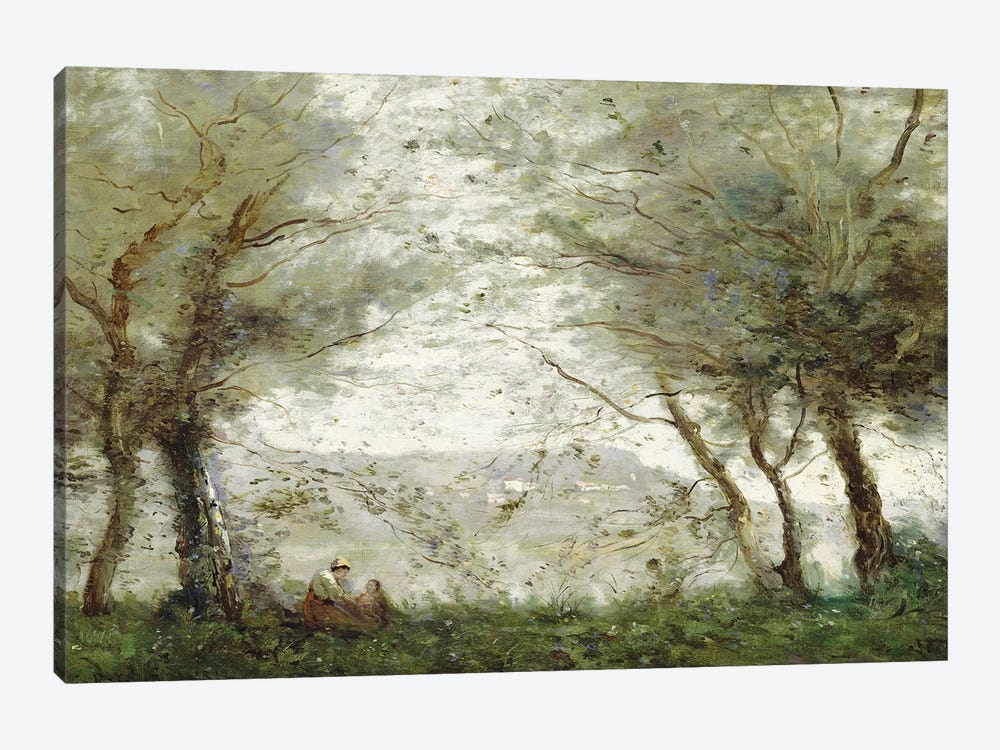 The Pond at Ville-d'Avray through the Trees, 1871  by Jean-Baptiste-Camille Corot 1-piece Canvas Print