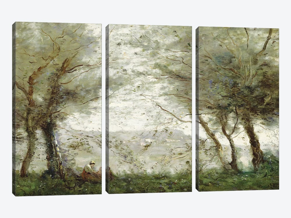 The Pond at Ville-d'Avray through the Trees, 1871  3-piece Canvas Art Print