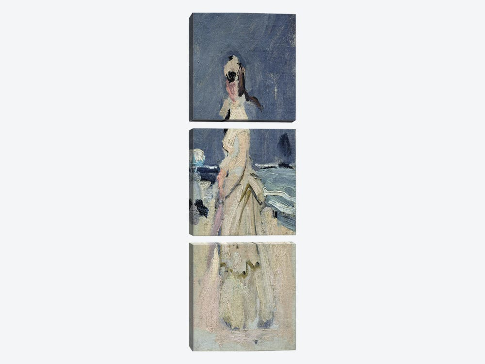 Camille on the Beach, 1870-71  by Claude Monet 3-piece Canvas Wall Art