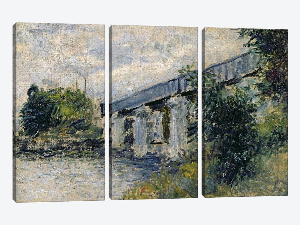 Railway Bridge at Argenteuil, 1874 by Claude Monet 3-piece Canvas Art