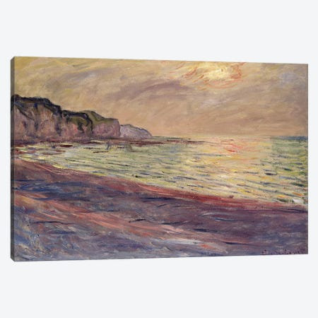 The Beach at Pourville, Setting Sun, 1882  Canvas Print #BMN2419} by Claude Monet Canvas Print
