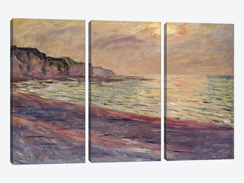 The Beach at Pourville, Setting Sun, 1882  by Claude Monet 3-piece Canvas Wall Art