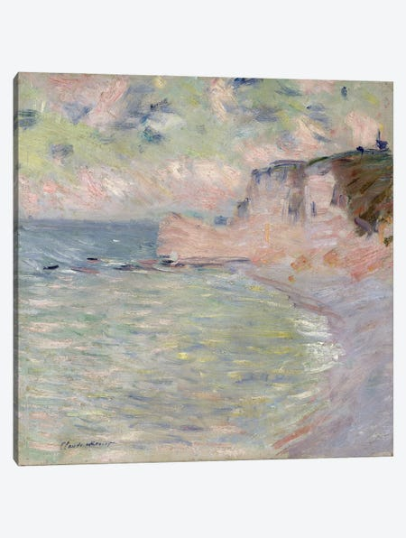 Cliffs and the Porte d'Amont, Morning Effect, 1885  Canvas Print #BMN2420} by Claude Monet Canvas Art