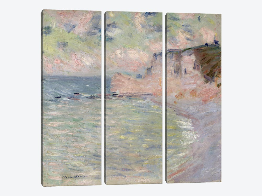 Cliffs and the Porte d'Amont, Morning Effect, 1885  by Claude Monet 3-piece Canvas Wall Art