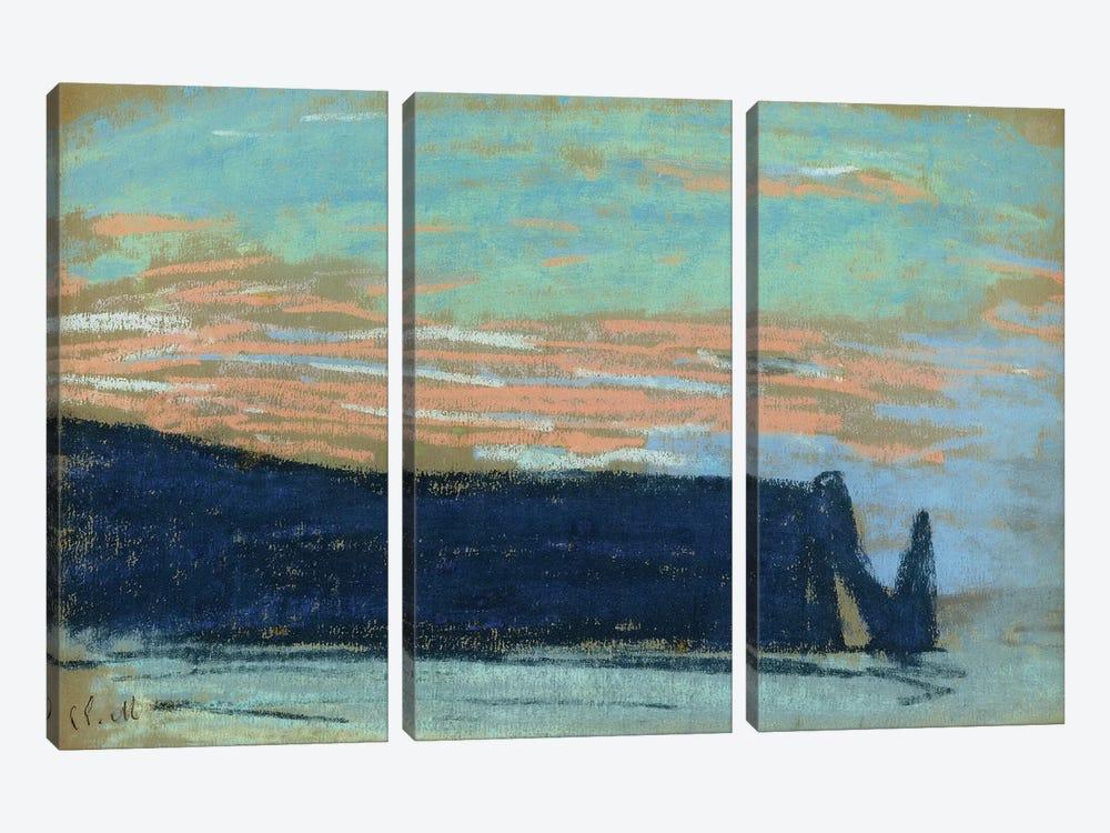 The Cliff at Etretat, c.1885  by Claude Monet 3-piece Canvas Print