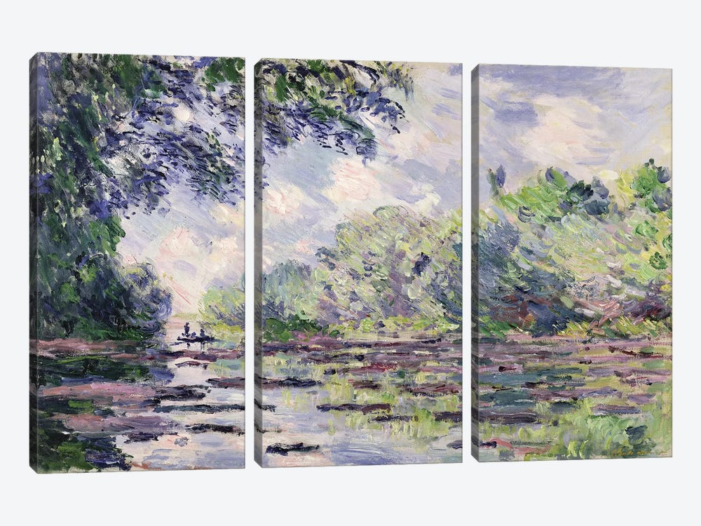 The Seine at Giverny, 1885  by Claude Monet 3-piece Canvas Wall Art