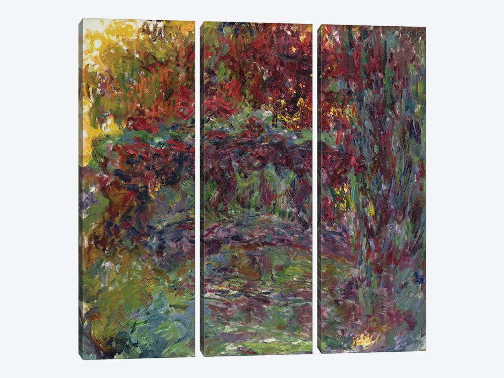 The Japanese Bridge at Giverny, 1918-24  by Claude Monet 3-piece Canvas Print
